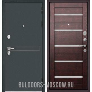 Стальная дверь Бульдорс STANDART-90 Черный шелк D-4/Дуб темный CR-3