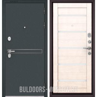 Входная дверь со стеклом Бульдорс STANDART-90 Черный шелк D-4/Дуб жемчужный CR-3