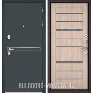 Стальная дверь с серым стеклом Бульдорс STANDART-90 Черный шелк D-4/Ясень ривьера Айс CR-1