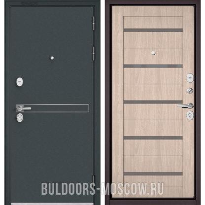 Металлическая дверь Бульдорс STANDART-90 Черный шелк D-4/Ясень ривьера Айс CR-3