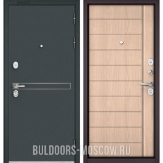 Стальная входная дверь Бульдорс STANDART-90 Черный шелк D-4/Ясень ривьера крем 9S-136