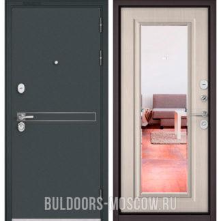 Стальная дверь с зеркалом Бульдорс STANDART-90 Черный шелк D-4/Ларче бьянко 9P-140 mirror