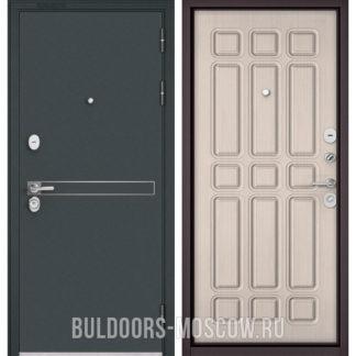 Купить светлую металлическую дверь Бульдорс STANDART-90 Черный шелк D-4/Ларче бьянко 9S-111
