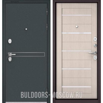 Стальная дверь со стеклом Бульдорс STANDART-90 Черный шелк D-4/Ларче Бьянко CR-3
