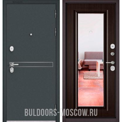 Металлическая дверь с зеркалом Бульдорс STANDART-90 Черный шелк D-4/Ларче шоколад 9P-140