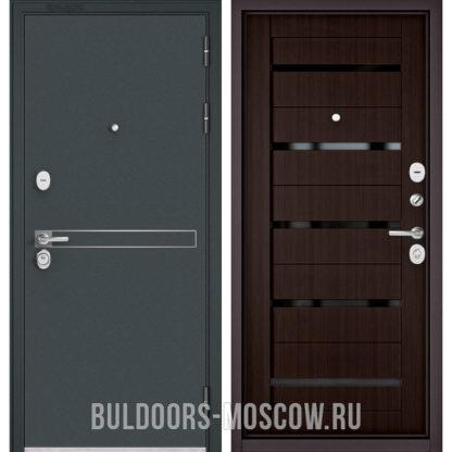 Входная дверь с черным стеклом Бульдорс СТАНДАРТ-90 Черный шелк D-4/Ларче шоколад CR-3