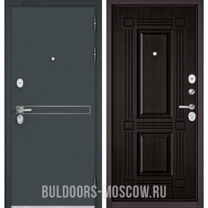 Металлическая дверь Бульдорс STANDART-90 Черный шелк D-4/Ларче темный 9S-104