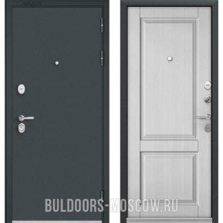 Металлическая дверь Бульдорс STANDART-90 Черный шелк/Дуб белый матовый 9SD-1
