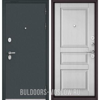 Входная дверь в квартиру Бульдорс STANDART-90 Черный шелк/Дуб белый матовый 9SD-2