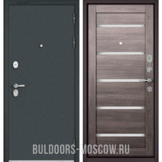 Стальная дверь Бульдорс STANDART-90 Черный шелк/Дуб дымчатый CR-3