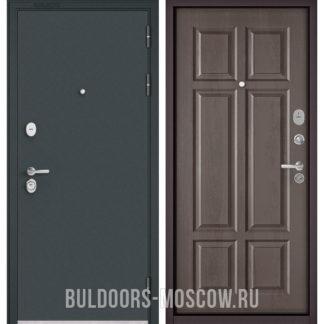 Стальная дверь Бульдорс STANDART-90 Черный шелк/Дуб шале серебро 9S-109