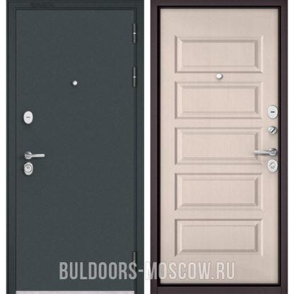 Входная стальная дверь Бульдорс STANDART-90 Черный шелк/Дуб светлый матовый 9S-108