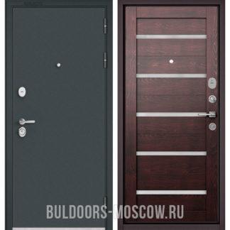 Купить входную дверь со стеклом Бульдорс STANDART-90 Черный шелк/Дуб темный CR-3