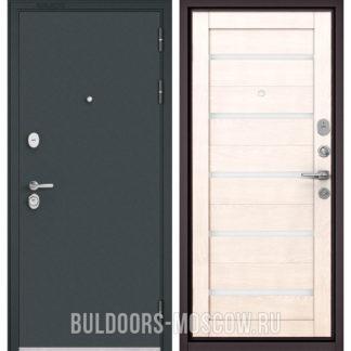 Железная дверь со стеклом Бульдорс STANDART-90 Черный шелк/Дуб жемчужный CR-3