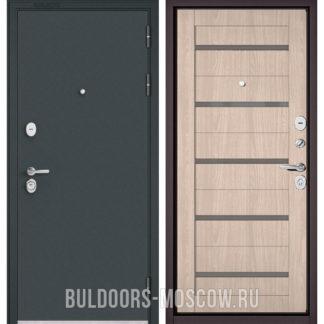 Входная дверь со стеклом Бульдорс Стандарт-90 Черный шелк/Ясень ривьера Айс CR-3