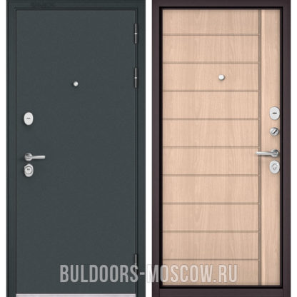 Входная дверь Бульдорс STANDART-90 Черный шелк/Ясень ривьера крем 9S-136