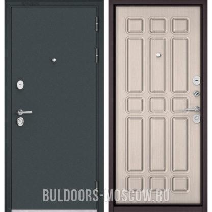 Входная железная дверь Бульдорс STANDART-90 Черный шелк/Ларче бьянко 9S-111