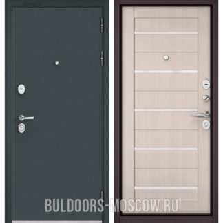 Входная металлическая дверь с белым стеклом Бульдорс STANDART-90 Черный шелк/Ларче Бьянко CR-3