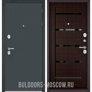 Железная дверь Бульдорс Стандарт-90 Черный шелк/Ларче шоколад CR-3, стекло черное