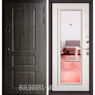 Стальная дверь с зеркалом Бульдорс STANDART-90 Дуб графит 9SD-2/Белый софт 9P-140