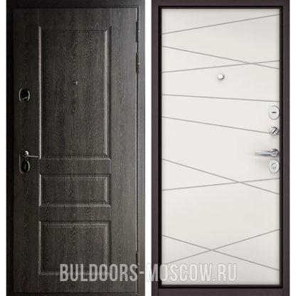 Стальная входная дверь Бульдорс Standart-90 Дуб графит 9SD-2/Белый софт 9S-130