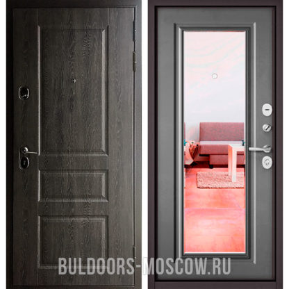 Купить железную входная дверь с зеркалом Бульдорс СТАНДАРТ-90 Дуб графит 9SD-2/Бетон серый 9P-140