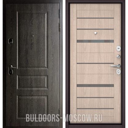 Стальная входная дверь Бульдорс STANDART-90 Дуб графит 9SD-2/Ясень ривьера Айс CR-1 стекло серое