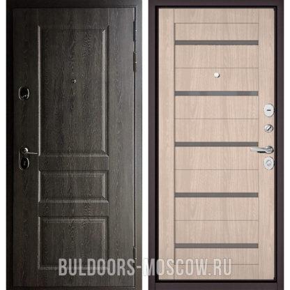 Железная дверь Бульдорс STANDART-90 Дуб графит 9SD-2/Ясень ривьера Айс CR-3 со стеклом