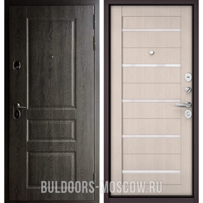Входная железная дверь со стеклом Бульдорс STANDART-90 Дуб графит 9SD-2/Ларче бьянко CR-3