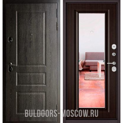 Металлическая дверь с зеркалом Бульдорс STANDART-90 Дуб графит 9SD-2/Ларче шоколад 9P-140