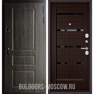 Входная дверь с черным стеклом Бульдорс STANDART-90 Дуб графит 9SD-2/Ларче шоколад CR-3