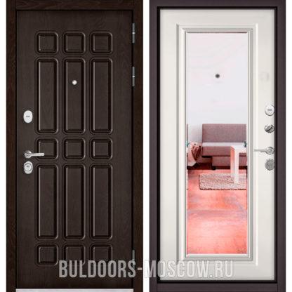 Железная дверь с зеркалом Бульдорс Стандарт-90 Дуб Шоколад 9S-111/Белый софт 9P-140