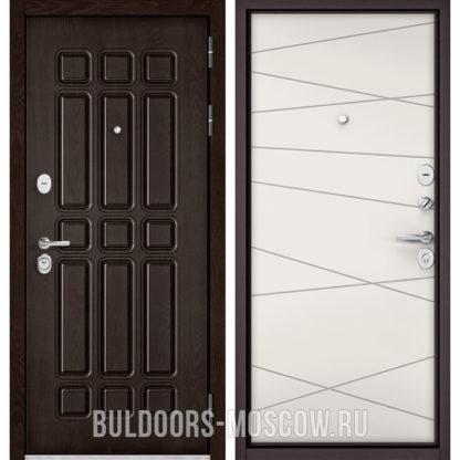 Металлическая входная дверь Бульдорс СТАНДАРТ-90 Дуб Шоколад 9S-111/Белый софт 9S-130