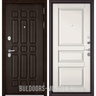 Железная входная дверь Бульдорс STANDART-90 Дуб Шоколад 9S-111/Белый софт 9SD-2