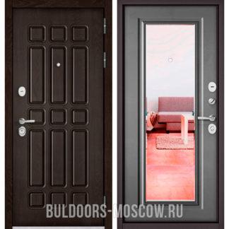 Входная дверь с зеркалом Бульдорс СТАНДАРТ-90 Дуб Шоколад 9S-111/Бетон серый 9P-140