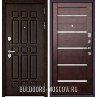 Стальная дверь Бульдорс STANDART-90 Дуб Шоколад 9S-111/Дуб темный CR-3 со стеклом