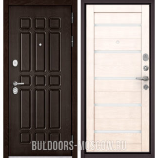 Светлая металлическая дверь со стеклом Бульдорс STANDART-90 Дуб Шоколад 9S-111/Дуб жемчужный CR-3