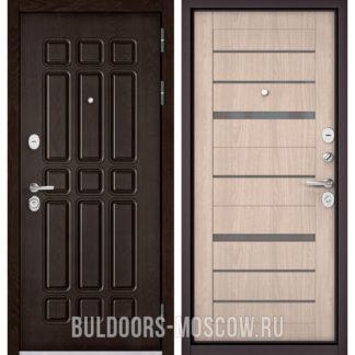 Входная дверь в квартиру Бульдорс STANDART-90 Дуб Шоколад 9S-111/Ясень ривьера Айс CR-1, стекло серое