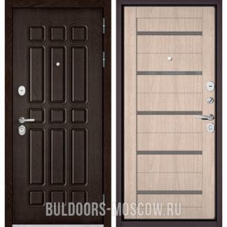 Металлическая дверь со стеклом Бульдорс STANDART-90 Дуб Шоколад 9S-111/Ясень ривьера Айс CR-3