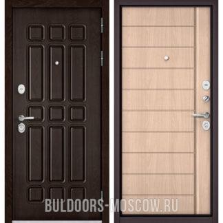 Стальная дверь Бульдорс STANDART-90 Дуб Шоколад 9S-111/Ясень ривьера крем 9S-136