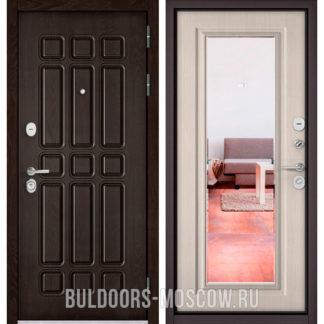 Стальная входная дверь с зеркалом Бульдорс STANDART-90 Дуб Шоколад 9S-111/Ларче бьянко 9P-140
