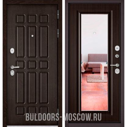 Металлическая дверь с зеркалом Бульдорс STANDART-90 Дуб Шоколад 9S-111/Ларче шоколад 9P-140 mirror
