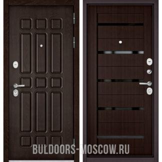 Заказать железную входную дверь Бульдорс STANDART-90 Дуб Шоколад 9S-111/Ларче шоколад CR-3 с черным стеклом