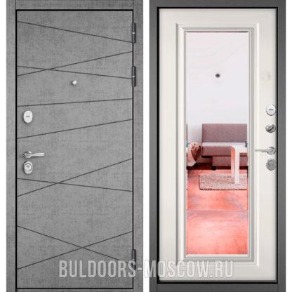Металлическая дверь Бульдорс STANDART-90 Штукатурка серая 9S-130/Белый софт 9P-140 с зеркалом