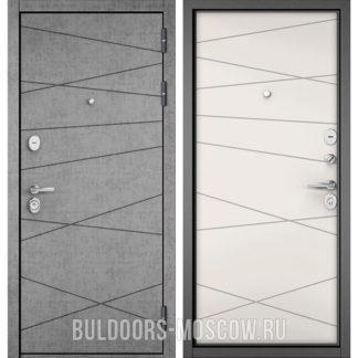 Стальная входная дверь Бульдорс СТАНДАРТ-90 Штукатурка серая 9S-130/Белый софт 9S-130