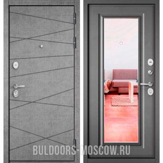 Входная дверь Бульдорс СТАНДАРТ-90 Штукатурка серая 9S-130/Бетон серый 9P-140 с зеркалом