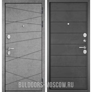 Металлическая дверь Бульдорс СТАНДАРТ-90 Штукатурка серая 9S-130/Бетон темный 9S-135