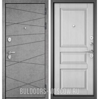 Железная дверь Бульдорс СТАНДАРТ-90 Штукатурка серая 9S-130/Дуб белый матовый 9SD-2