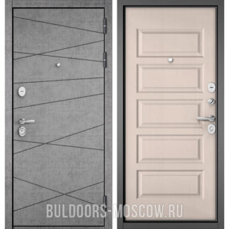 Стальная дверь Бульдорс STANDART-90 Штукатурка серая 9S-130/Дуб светлый матовый 9S-108