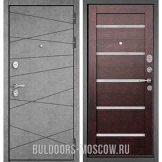 Стальная дверь Бульдорс STANDART-90 Штукатурка серая 9S-130/Дуб темный CR-3 со стеклом
